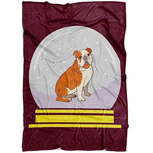 Weezag Snow Globe Bulldog Fleece Throw Blanket, Funny Gifts for Dog Lovers, Medium 60