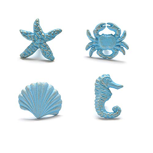 ZILucky Sea Horse Starfish Seashell and Crab Drawer Pulls Handles for Dresser Cupboard Wardrobe Cabinet Kitchen Beach Ocean Theme Knobs Pack of 4 (Blue) (Blue) ()
