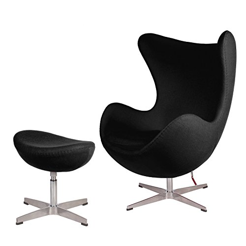 lazyBuddy Mid Century Modern Classic Arne Jacobsen Egg Replica Lounge Chair Premium (Black) Cashmere Wool Fabric with Stainless Steel Frame with Ottoman