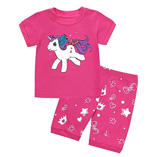 LitBud Girls Kids Chirstmas Unicorn Pajamas Sleepwears 2pcs Short Sleeves Pjs Summer Tops + Pants Sets for Girls Toddler Size 4-5 Years 5T