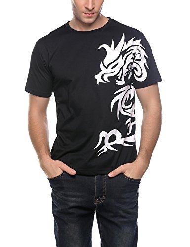 Coofandy Men's O-Neck Short Sleeve Print Summer Casual T-Shirt Tops,Black,Large