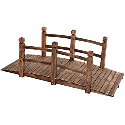 Giantex 5' Garden Bridge Wooden Stained Finish Decorative Pond Bridge Arch Backyard Walkway w/Railings, Brown