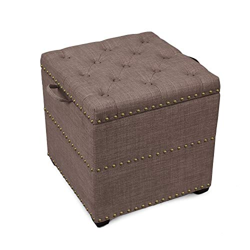 (ELEGAN Fabric Square Ottoman with Tray (dark brown))