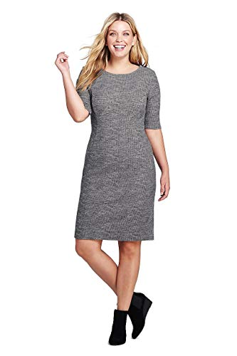 (Lands' End Women's Plus Size Ponte Knit Sheath Print Dress with Elbow Sleeves, 18W, Charcoal Heather)