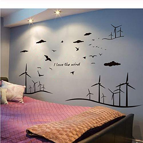 Wall Sticker Hand-Painted Black Windmill Silhouette Sticker PVC Material DIY Modern Art Mural Applique Living Room Bedroom Office Home Decoration