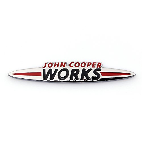 Areyourshop 3d Car Emblem Badge Sticker Metal John Cooper Works Silver for Mini Cooper R50 - Works Mini Cooper John