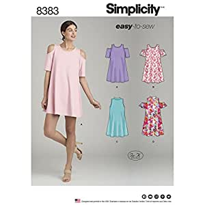 SIMPLICITY 8383 MISSES' KNIT TRAPEZE DRESS (SIZE 14-22) SEWING PATTERN