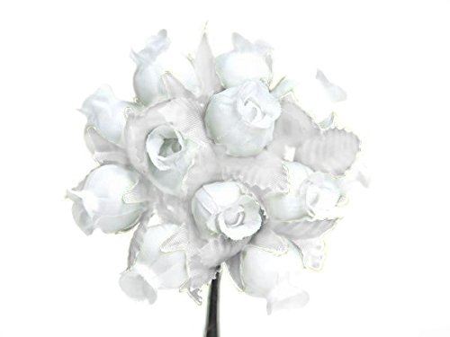 144 Poly Miniature Rose Silk Favor Flower Pick Wedding Shower - Solid White