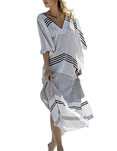 (QIUYEJUO Women's Bathing Suits Cover Up Stripe Ethnic Print Kaftan Bikini Swimwear Beach Long Maxi Dress)