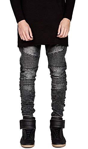 Vintage Da Casual Vestibilità Motociclista Uomo Pantaloni Fit Jeans Anch'essi Ragazzi Distrutti Classiche Grau Slim 4RqwnTWv