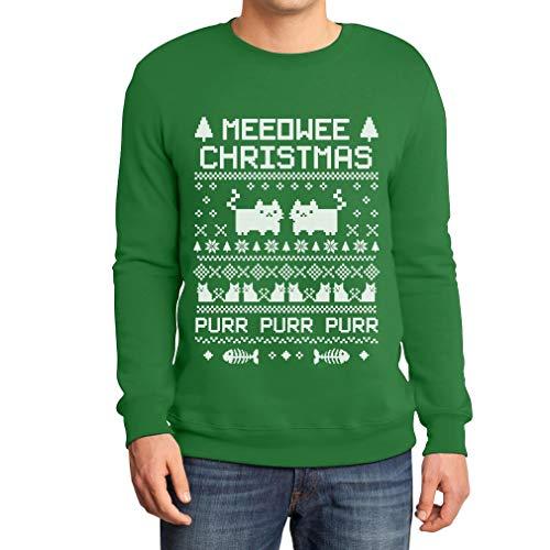 Ugly Meeowee maglione Purr Shirtgeil Christmas Verde Felpa Uomo Da Sweater q4CxwE1