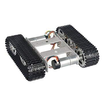 Mini T100 9V Aluminum Alloy Silver Smart Crawler Chassis Car For 5KG Max Load With Chassis - Arduino Compatible SCM & DIY Kits Smart Robot & Solar Panel - 1 x T100 Smart Tank Car Kit