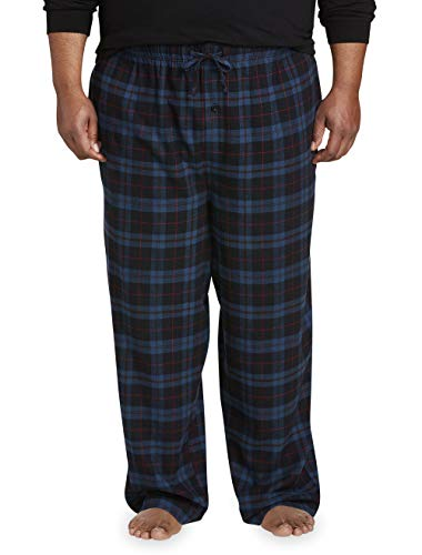Amazon Essentials Men's Big & Tall Flannel Pajama Pant fit by DXL, Navy/Black Plaid, 2X