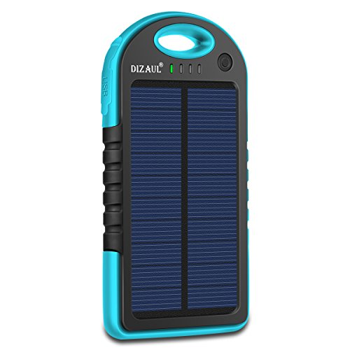 Solar Charger,Dizaul® 5000mAh Portable Solar Power Bank Waterproof/Shockproof/Dustproof Dual USB Battery Bank for cell phone,iPhone,Samsung,Android phones,Windows phones,GoPro Camera,GPS and More