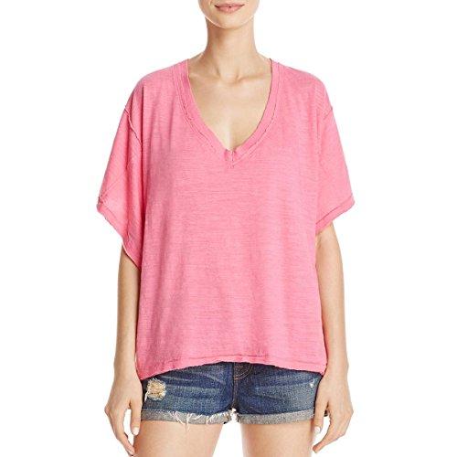 Shirts Tee Free (We The Free Womens Boyfriend Slub Raw Trim T-Shirt Pink M)