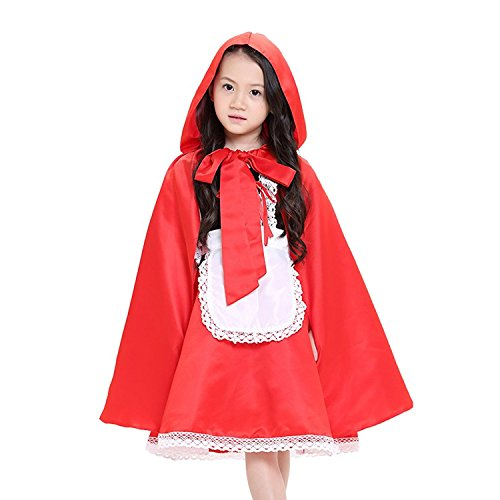 DREAMOWL Girls Little Red Riding Hood Costume Fancy Dress Hens Party Halloween Outfit -