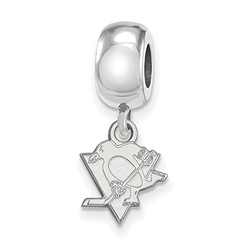925 Sterling Silver NHL LogoArt Pittsburgh Penguins XS Dangle Bead Charm from Perfume4All