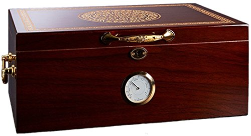 Premium Large 100-150 Cigars La Madera Cubana Cigar Humidor Exclusive Luxury Humidifier and Hygrometer Box Set, Durable and Elegant Oak Design, Functional High-End Interior by La Madera Cubana