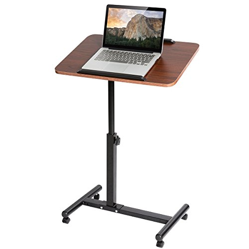 DOEWORKS Overbed Computer Desk Height Adjustable Laptop Stand,Movable Bedside Notebook Stand,Cherry Tray Side Table by DOEWORKS
