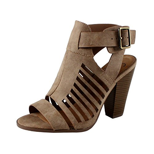 SODA Delicious Yummy Cutout Stacked Heel Sandal (7 M US, Taupe Pu)