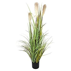 "Artificial 47 in Reed Grass w/ White Flowers & Black Pot - ""Reed Banks"" Product SKU: HD222559 55"