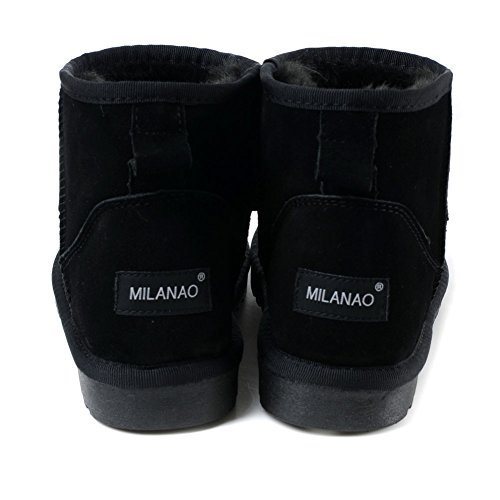 Milanao Women Winter Frosted Warm Leather Short Boots Black q0SsHr
