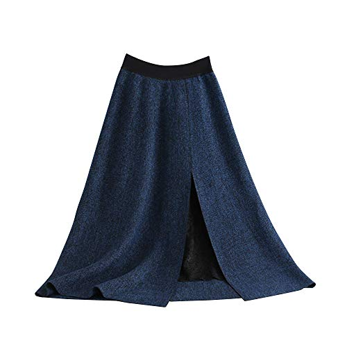 - Women Long A-Line Skirt Slit Knit Skirt 2-Layered Skirt with Elastic and Lace Lining for Winter, Autumn(Blue)