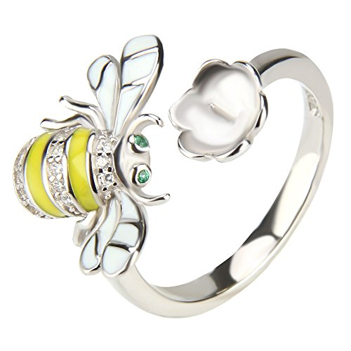 NY Jewelry 925 Sterling Silver Bumblebee Design Ring for Pearl, Adjustable Pearl Ring Settings for Women DIY Jewelry Making ()