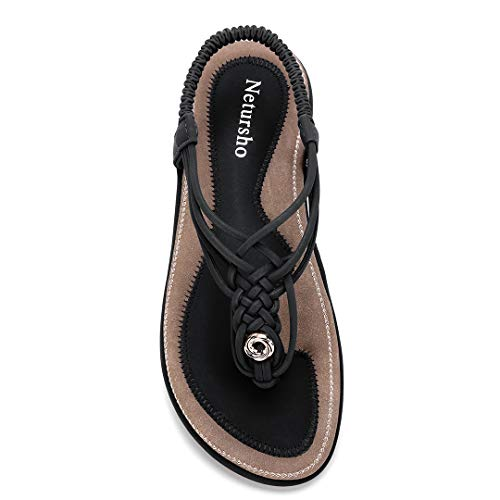 - Netursho Summer Sandals for Women, Flat Sandals Flip Flops Thongs Clip Toe Slip On Elastic T-Strap Bohemia Beach Shoes Slippers Black