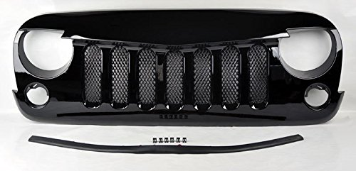 Jeep Wrangler 07-15 Angry Bird Style Mesh Gloss Black Front Hood Bumper Grill Front Bumper Gloss