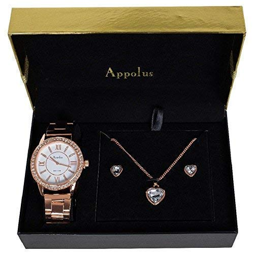 Gifts For Women Mom Wife Girlfriend Anniversary Birthday Gift - Appolus Watch Necklace Earrings Set Rose Gold