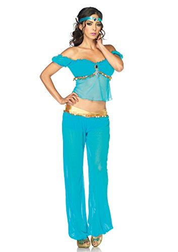 Leg Avenue Women's 3 Piece Arabian Princess Costume, Turquoise, (Harem Princess Costume)