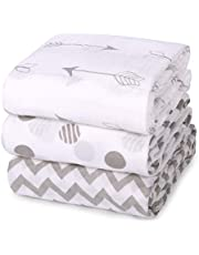 Muslin Baby Swaddle Blankets, Momcozy Unisex Soft Swaddle Wrap, Large Neutral Receiving Blanket for Boys and Girls. 47 x 47 inch, Soft Silky 70% Bamboo + 30% Cotton, 3 Pack.