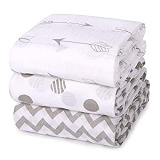 Momcozy Muslin Baby Swaddle Blankets, Unisex Soft Swaddle Wrap, Large Neutral Receiving Blanket for Boys and Girls. 47 x 47 inch, Soft Silky 70% Bamboo + 30% Cotton, 3 Pack.