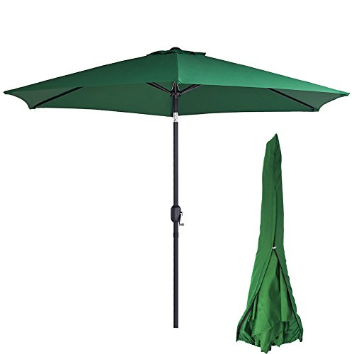 Sunnyline Outdoor Patio Table Umbrella 10FT,with Umbrella Cover Included,Large Round Sunshade with Push Button Tilt and Crank (Dark Green)