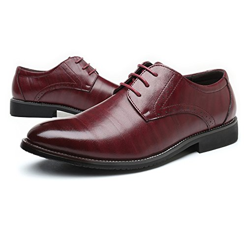 Leather in Color fodera pelle uomo Scarpe Scarpe Vino Upper da EU lavoro Classic Up da Lace 45 Dimensione Fodere traspirante PU da Shoes Vino di BMD Matte uomo xqHRRB
