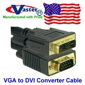 Vaster SKU: 20987 DVI-A Male to HD15 VGA Female Analog Extension Cable (4 Ft, Black)