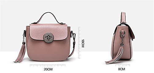 La mujer Xinmaoyuan Bolsos Bolso De cuero señoras señoras Bolso Bolso Tassel Bolsa bolso con cremallera de color sólido,negra Negro