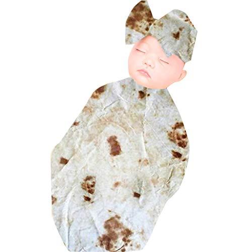Fine Swaddle Blanket, Burrito Blanket Baby Flour Tortilla Swaddle Blanket Sleeping Wrap Hat (White) ()