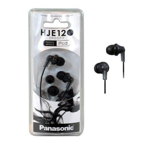 Panasonic RP-HJE120 ErgoFit In-Ear Headphones Stereo Earbuds (4-Pack Black/Silver/Blue/Red)