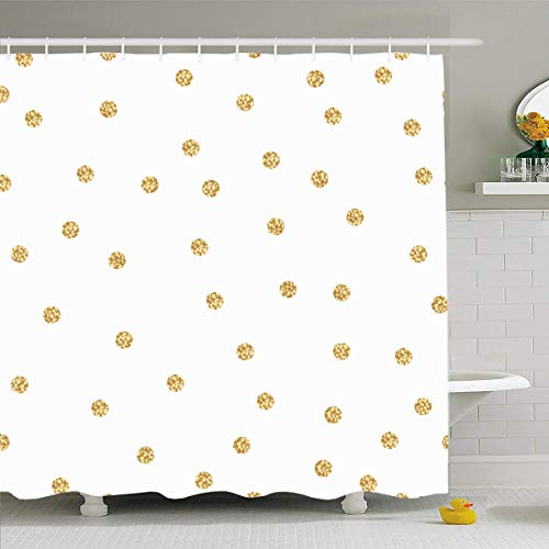 Ahawoso Shower Curtain 72x72 Inches Day Yellow Foil Gold Shimmer Polka Dot Birthday Abstract Confetti Pattern Vintage Wedding Design Waterproof Polyester Fabric Set with Hooks