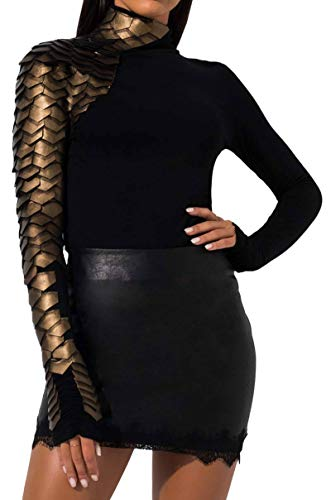 Gracia Stretch Knit Zip Back High Neck Faux Leather Texture Long Sleeve Scale Top in Black-BLACK GOLD_S
