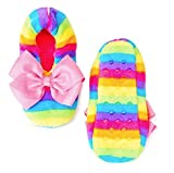 JoJo Siwa Rainbow Fuzzy Babba Slippers Size S/M, Fits Girls Shoe Size 8-13