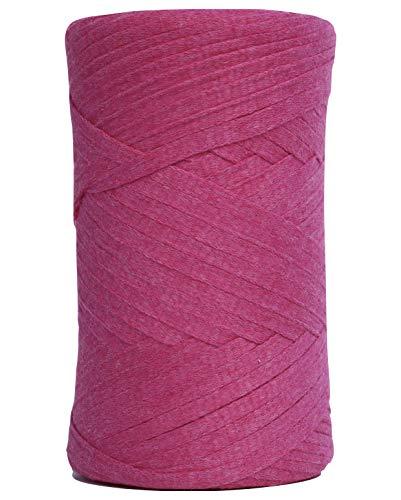 Rewind Ribbon - Tape Yarn 150 Yards/Cotton Tape Yarn/Bulky Yarn/Fast Track/Crochet/Knitting Yarn/XL Yarn/Modern Crochet/Ribbon Yarn (Fuchsia)