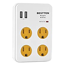 Bestten Wall Outlet Surge Protector with Dual USB Charging Ports (3.1A) and 4 Outlets, Top Cell Phone Dock, Portable for Travel or Home/Office Use (2U4AS)