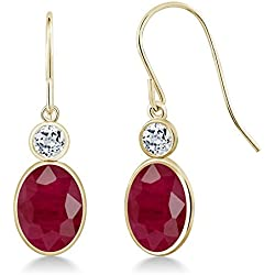 4.06 Ct Oval Natural Red Ruby and White Topaz 14K Yellow Gold Dangle Earrings
