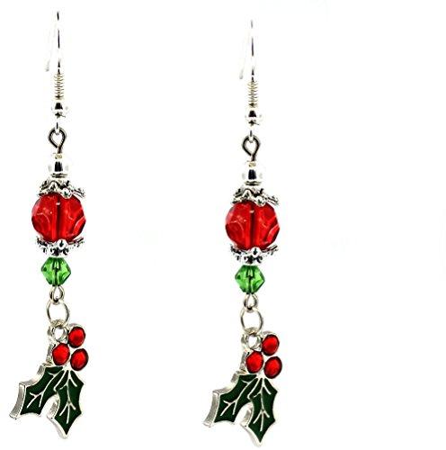 Holly Berry Enamel Dangle Earrings Jewelry