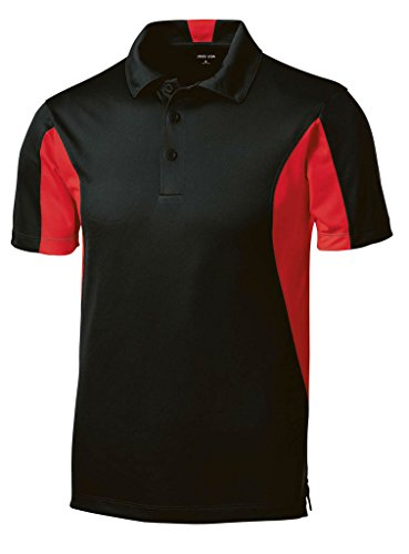 Joe's USA(tm - Moisture Wicking Side Blocked Micropique Polo-Black/Red-L