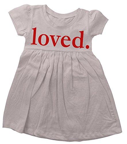 Custom Kingdom Baby Girls Loved Valentine's Day Dress (12-18 Months, White)