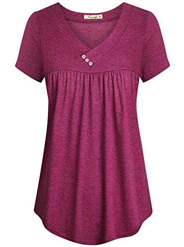 (Cyanstyle Shirts for Women Short Sleeve V Neck Tunic Scalloped Hemline Soft Fashionable Maternity Clothes Easy Wearing Cute Comfy Pullover Tops for Date Office Rose Red M)